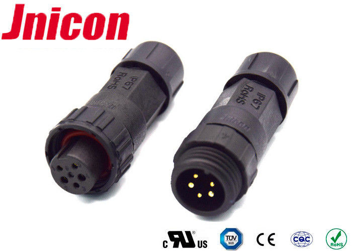 Push Locking IP68 10A Waterproof Connectors 5 Pin AC Power Socket CCC Compliant